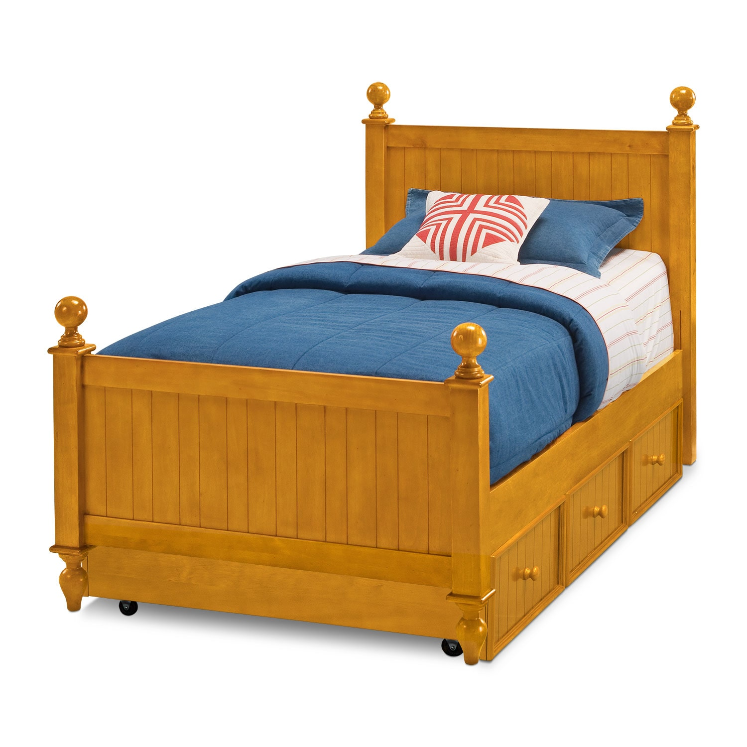 Kids Furniture - Colorworks Twin Bed with Trundle - Honey Pine