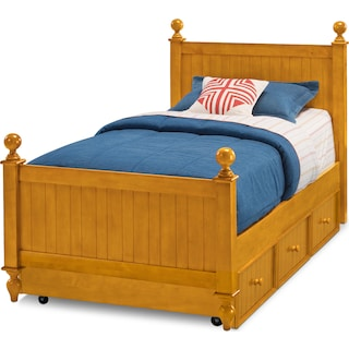 Colorworks Twin Bed with Trundle - Honey Pine