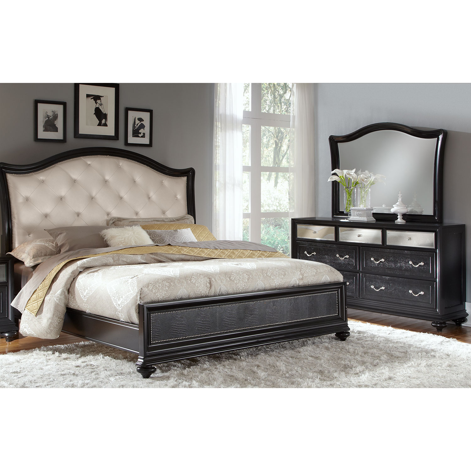 Marilyn 5 piece queen bedroom set ebony american - Black queen bedroom furniture set ...
