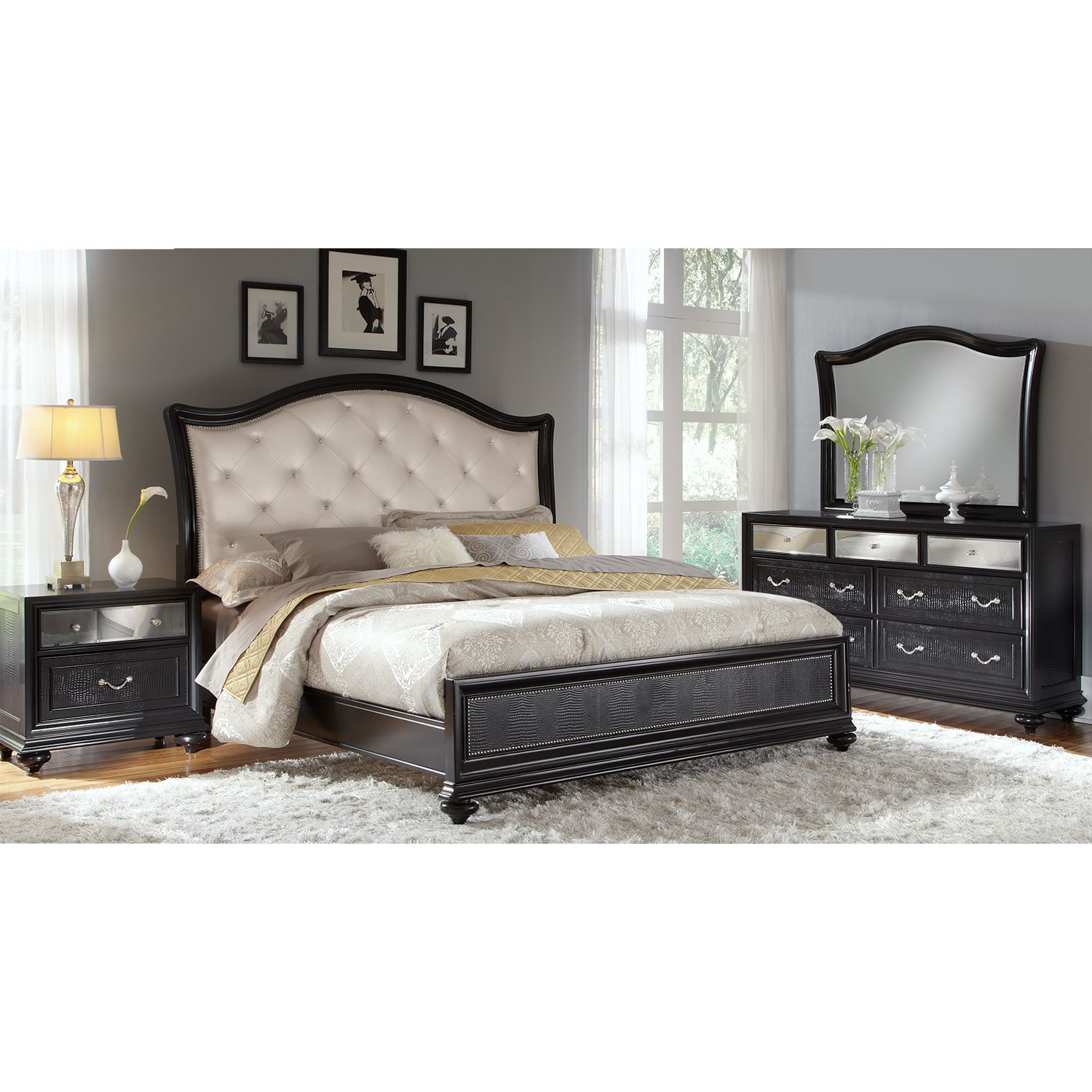Marilyn 6 piece king bedroom set ebony american for Bedroom 6 piece set