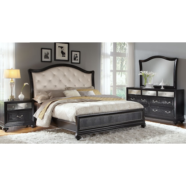 Bedroom Furniture - Marilyn 6-Piece Queen Bedroom Set - Ebony