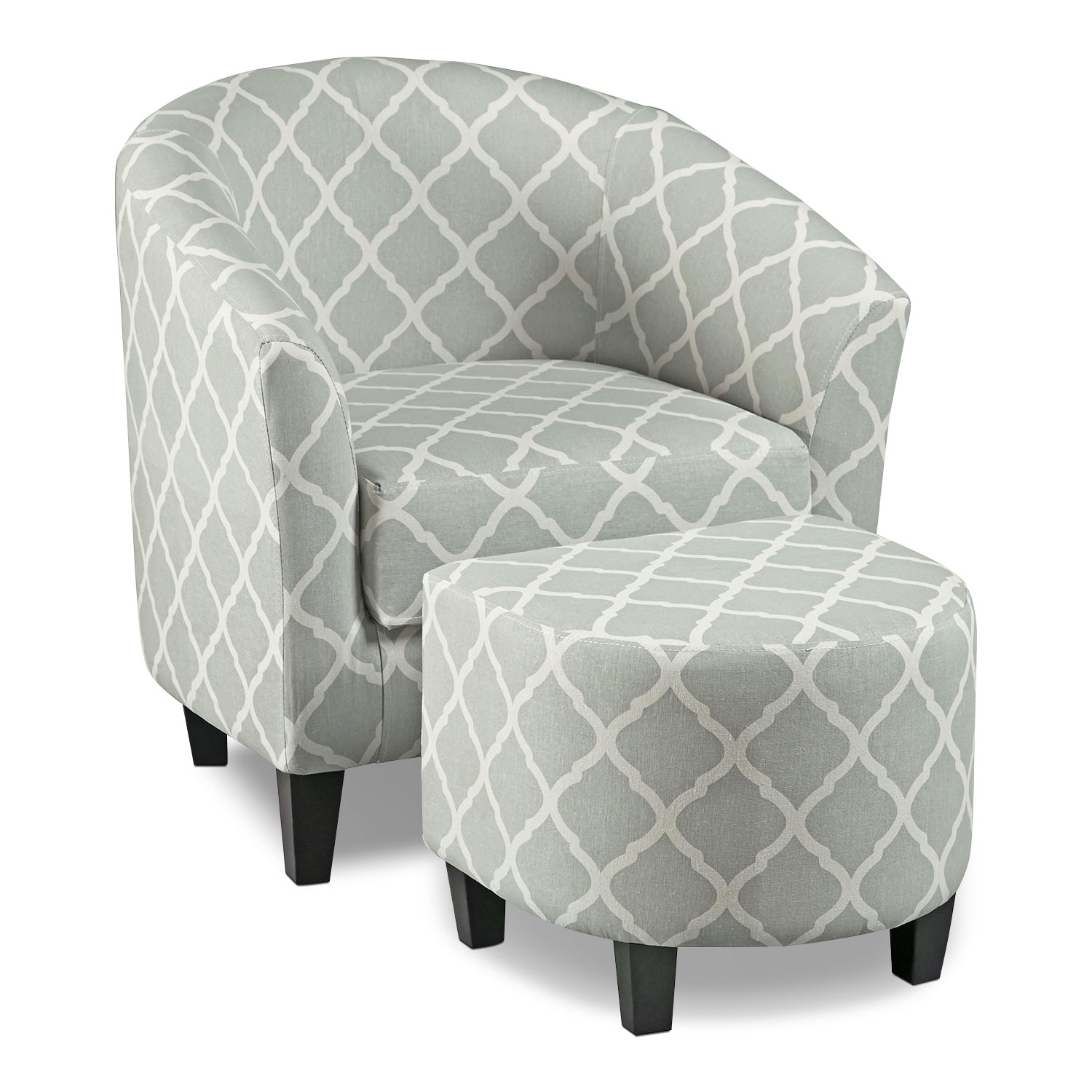 Accent Chairs.Sperrie Accent Chair And Ottoman Gray