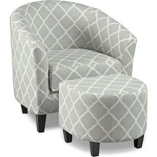 Sperrie Accent Chair and Ottoman - Gray