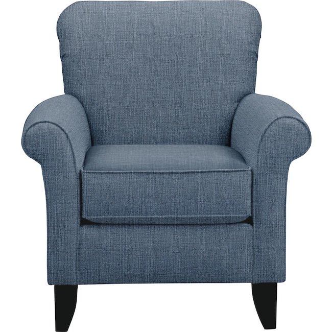 Living Room Furniture - Tracy Chair w/ Millford II Indigo Fabric
