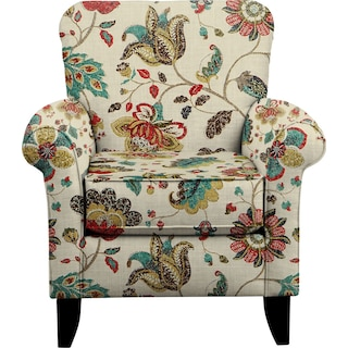 Tracy Chair w/ Spring Mix Poppy Fabric