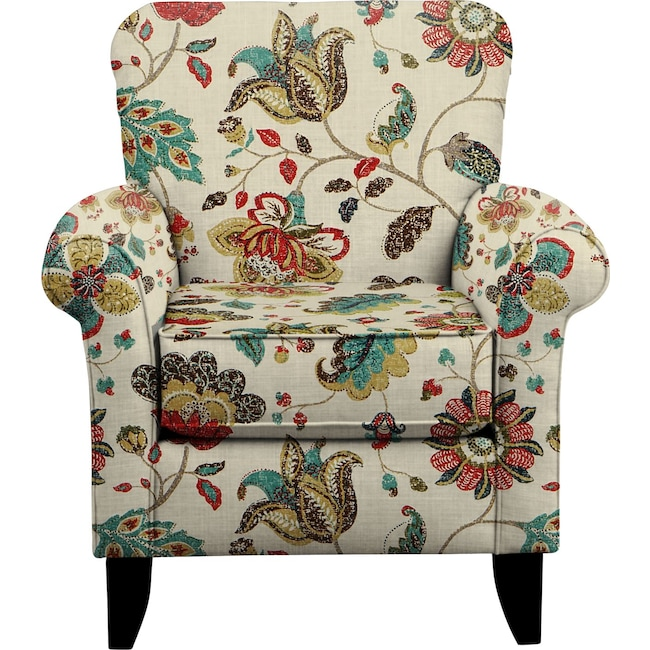Living Room Furniture - Tracy Chair w/ Spring Mix Poppy Fabric
