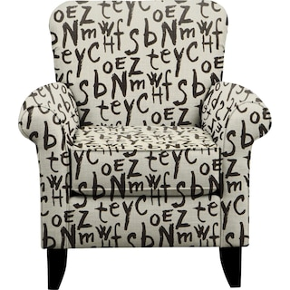 Tracy Chair w/ American Grafitti Raven Fabric