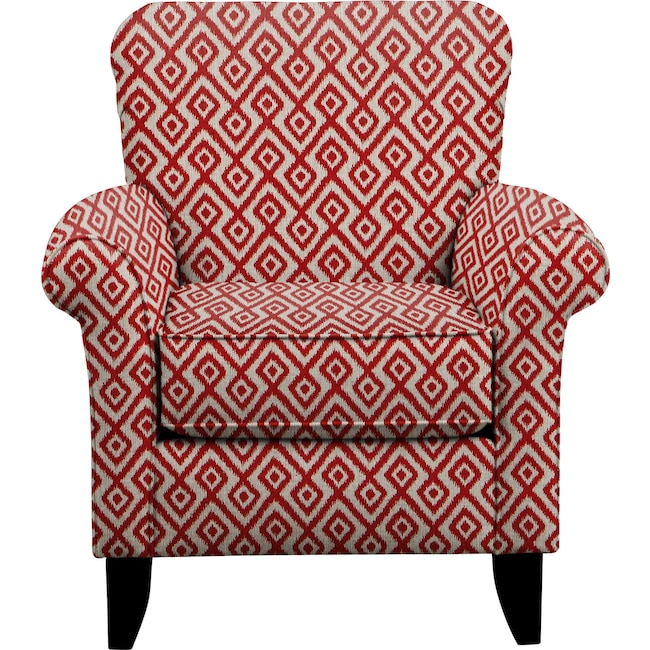 Living Room Furniture - Tracy Chair w/ Tate Red Fabric