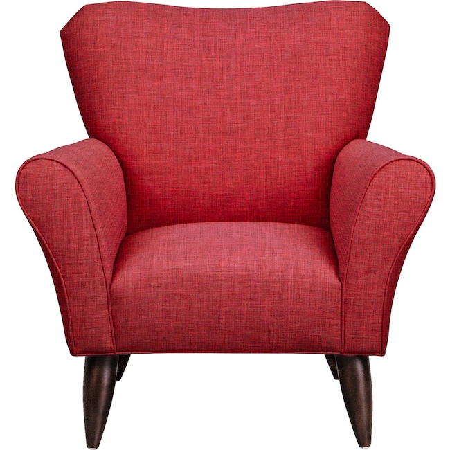 Living Room Furniture - Jessie Chair w/ Milford II Red Fabric