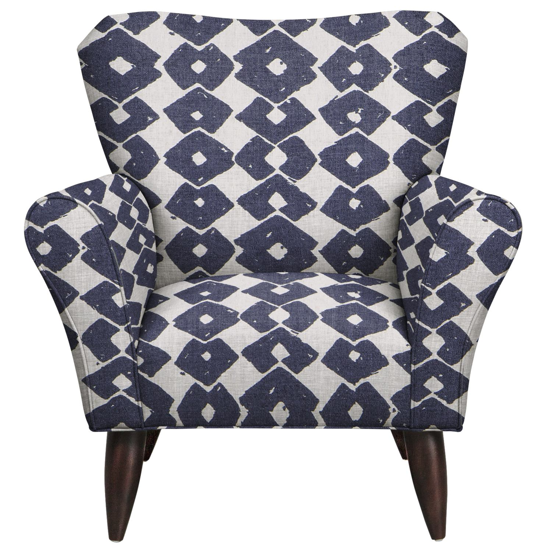 Living Room Furniture - Jessie Chair w/ Beechwood Indigo Fabric