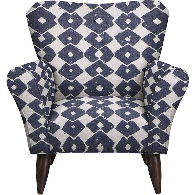 Living Room Furniture - Jessie Chair w/ Beechwood Indigo Fabric