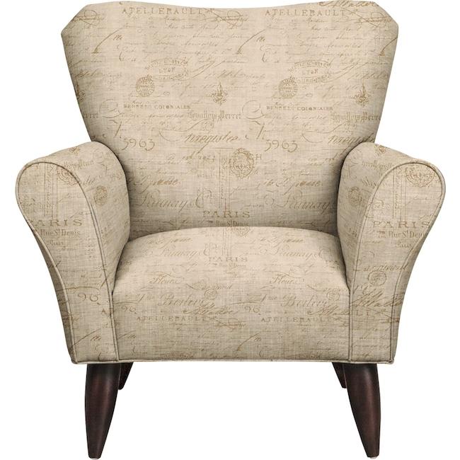 Living Room Furniture - Jessie Chair w/ Seine Mocha Fabric