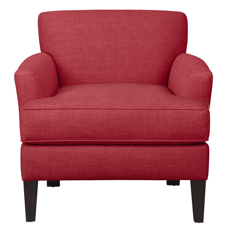 Living Room Furniture - Marcus Chair w/ Oakley III Tomato Fabric