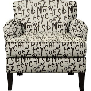 Marcus Chair w/ American Grafitti Raven Fabric