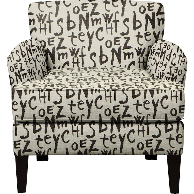 Living Room Furniture - Marcus Chair w/ American Grafitti Raven Fabric