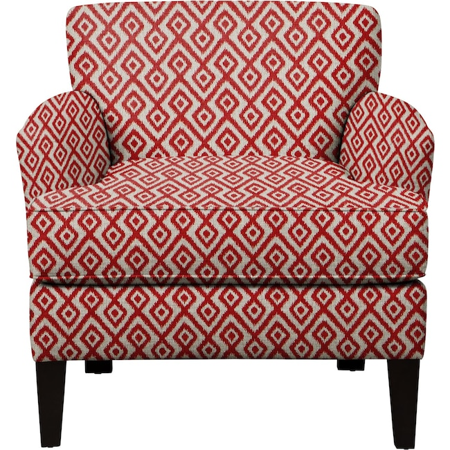 Living Room Furniture - Marcus Chair w/ Tate Red Fabric