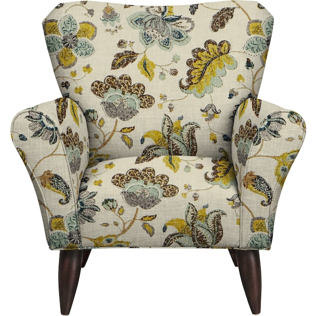 Living Room Furniture - Jessie Chair w/ Spring Mix Aloe Fabric