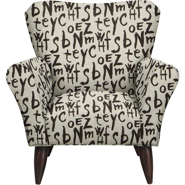 Living Room Furniture - Jessie Chair w/ American Grafitti Raven Fabric