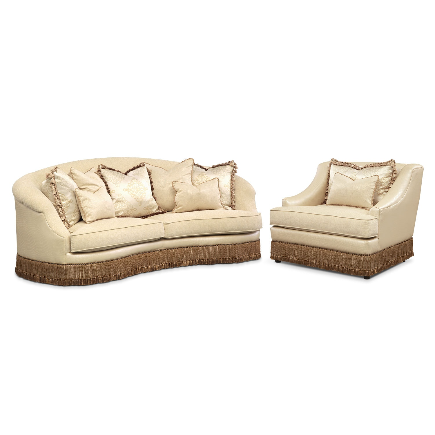 Living Room Furniture - Vivienne 2 Pc. Living Room w/Chair