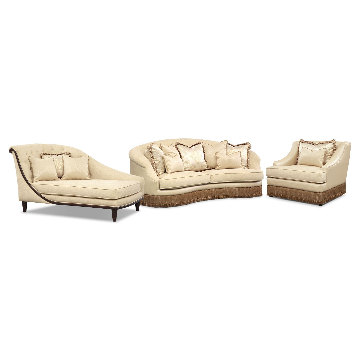 Living Room Furniture - Vivienne 3 Pc. Living Room w/Chair and Chaise