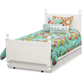 Colorworks Full Bed with Twin Trundle - White