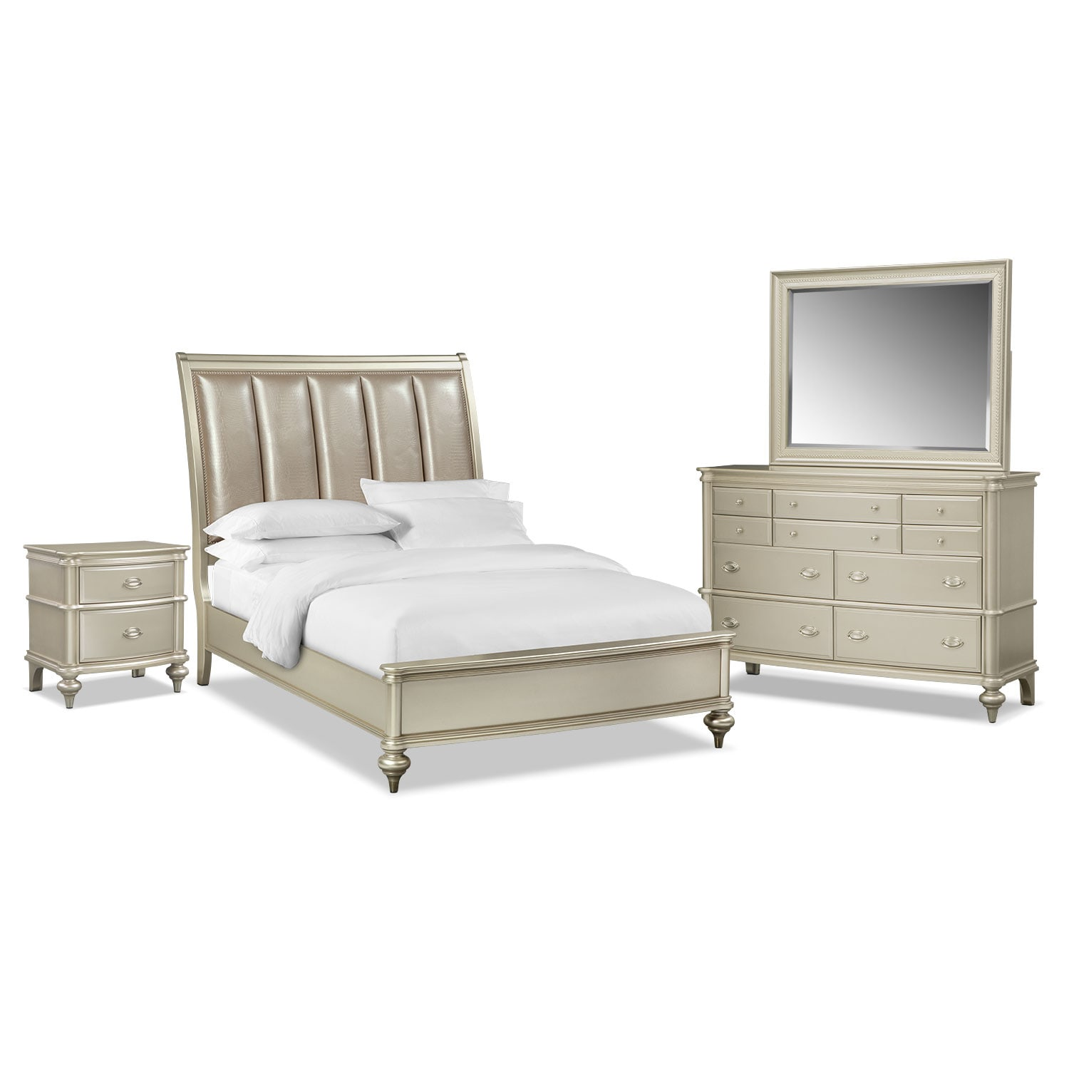 Esquire 6-Piece Queen Bedroom Set - Platinum