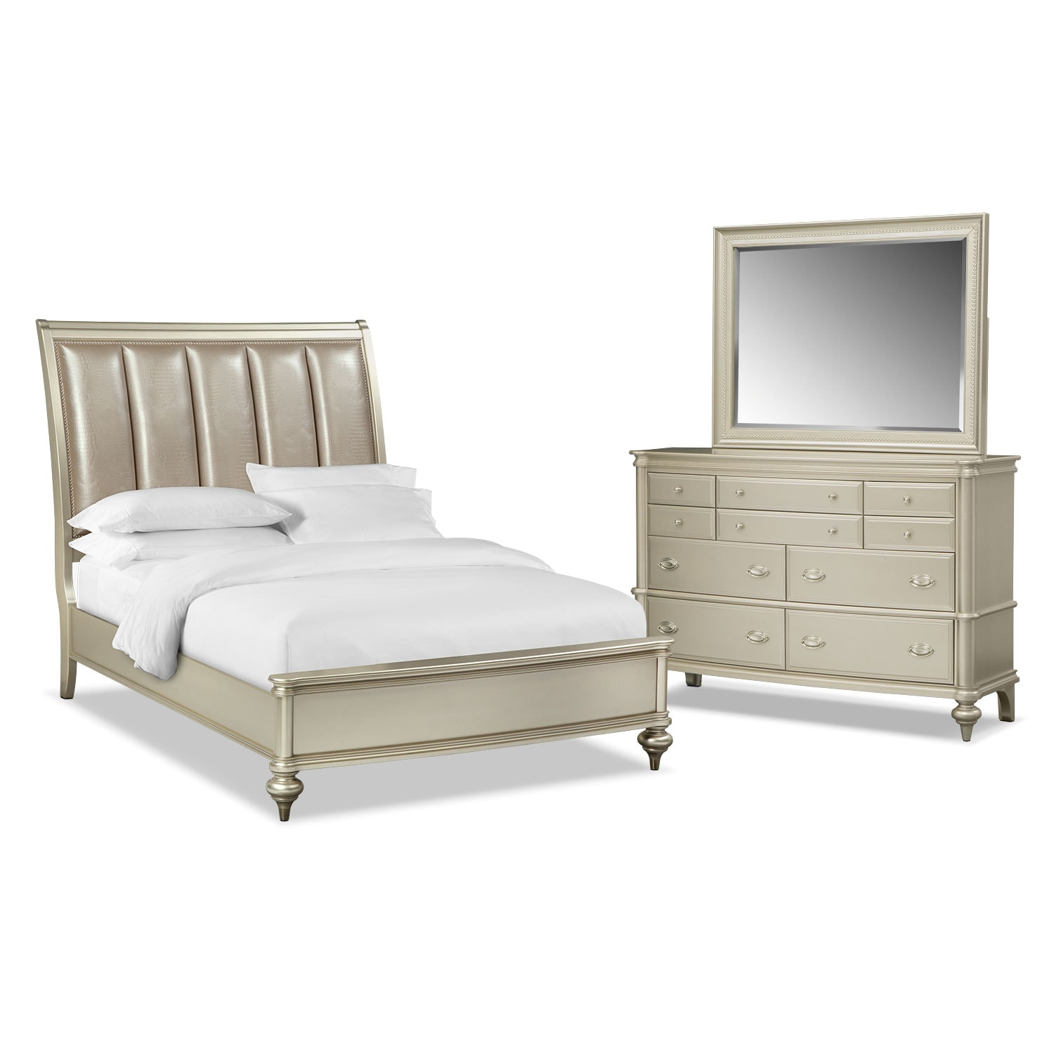 Bedroom Furniture - Esquire 5-Piece Queen Bedroom Set - Platinum