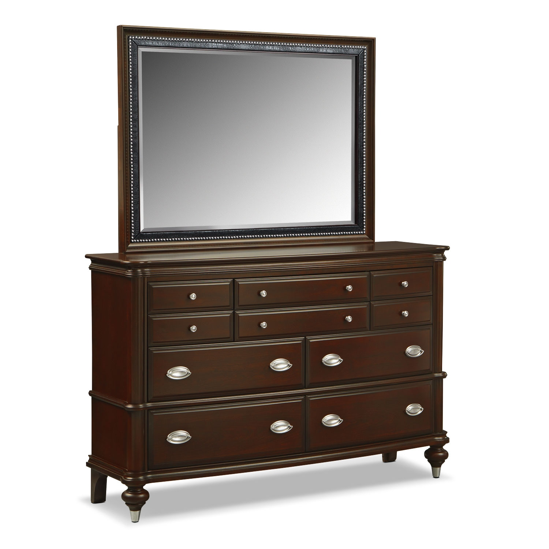 Bedroom Furniture - Esquire Merlot Dresser & Mirror