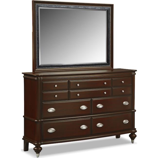 Bedroom Furniture - Esquire Dresser and Mirror - Merlot