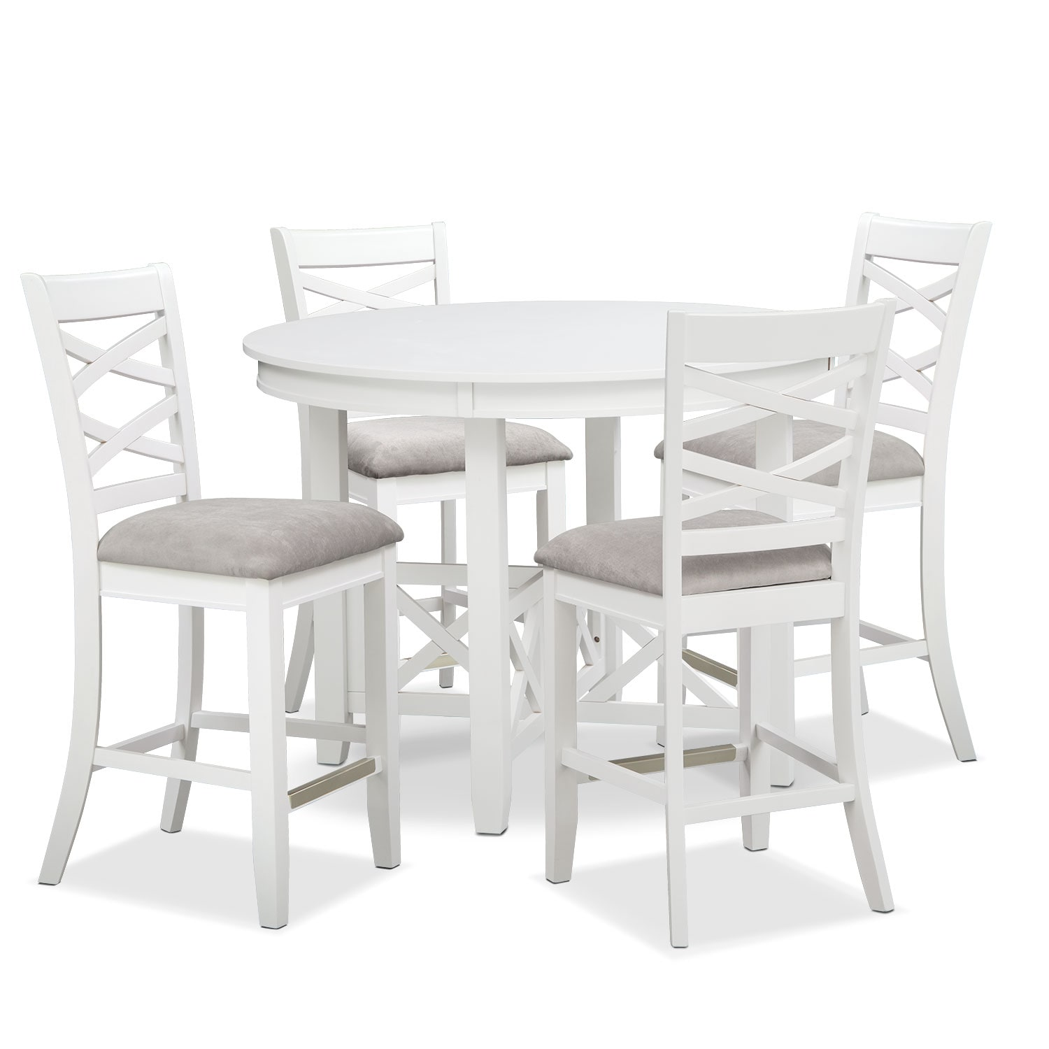 Dining Room Furniture - Americana White 5 Pc. Counter-Height Dinette