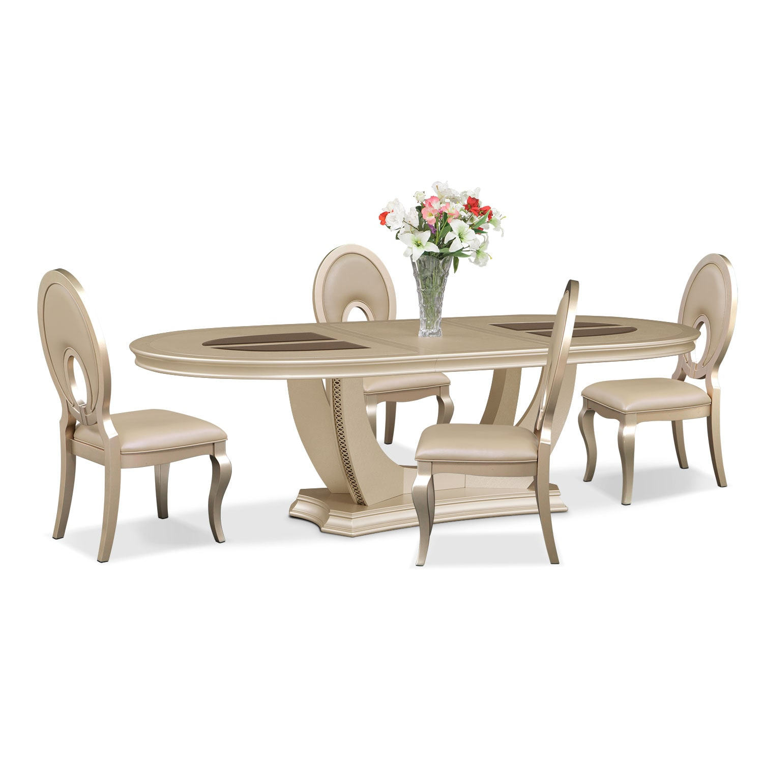 Allegro Oval Table and 4 Chairs - Platinum