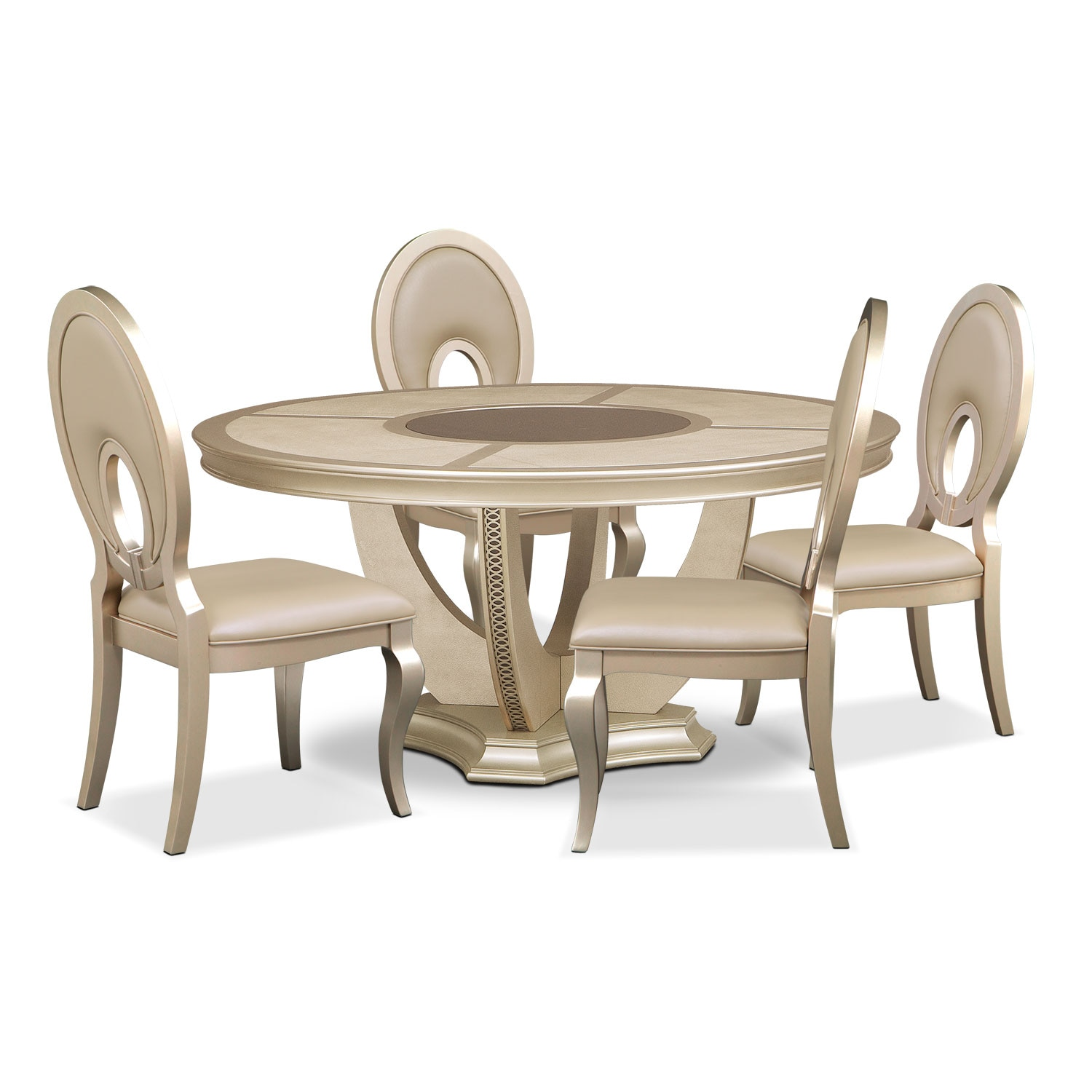 Allegro Round Table and 4 Chairs - Platinum