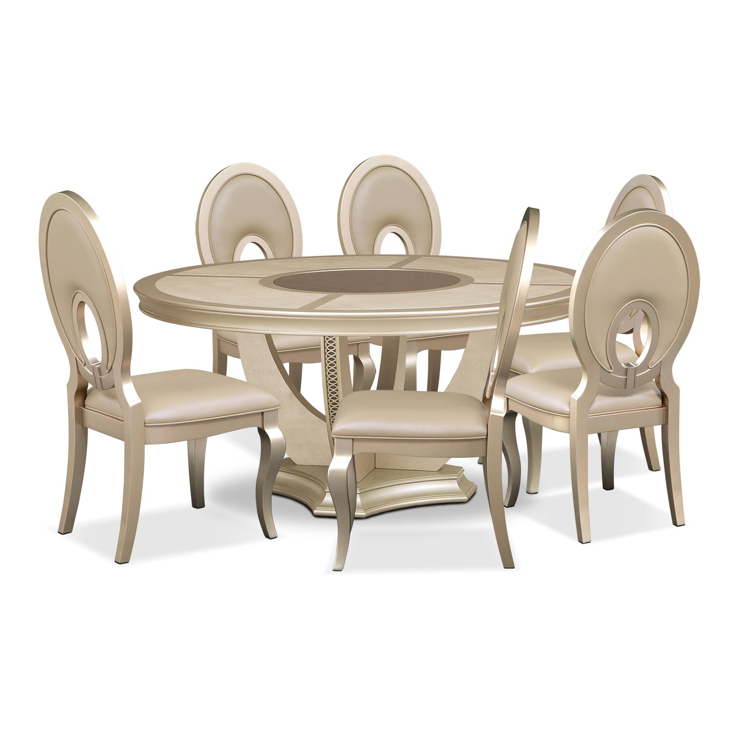 Allegro Round Table and 6 Chairs - Platinum