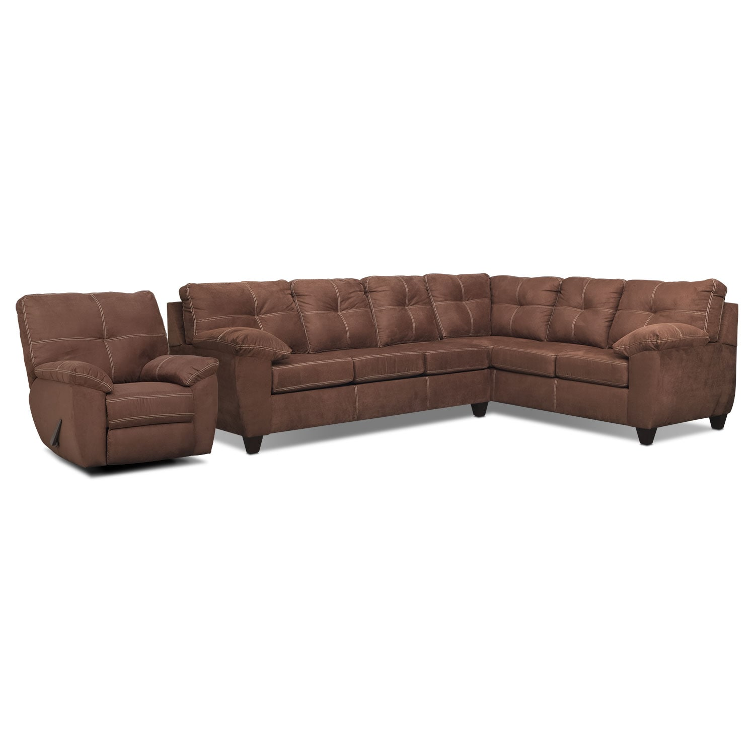 Rialto 2-Piece Sectional with Right-Facing Corner Sofa and Glider Recliner Set - Coffee