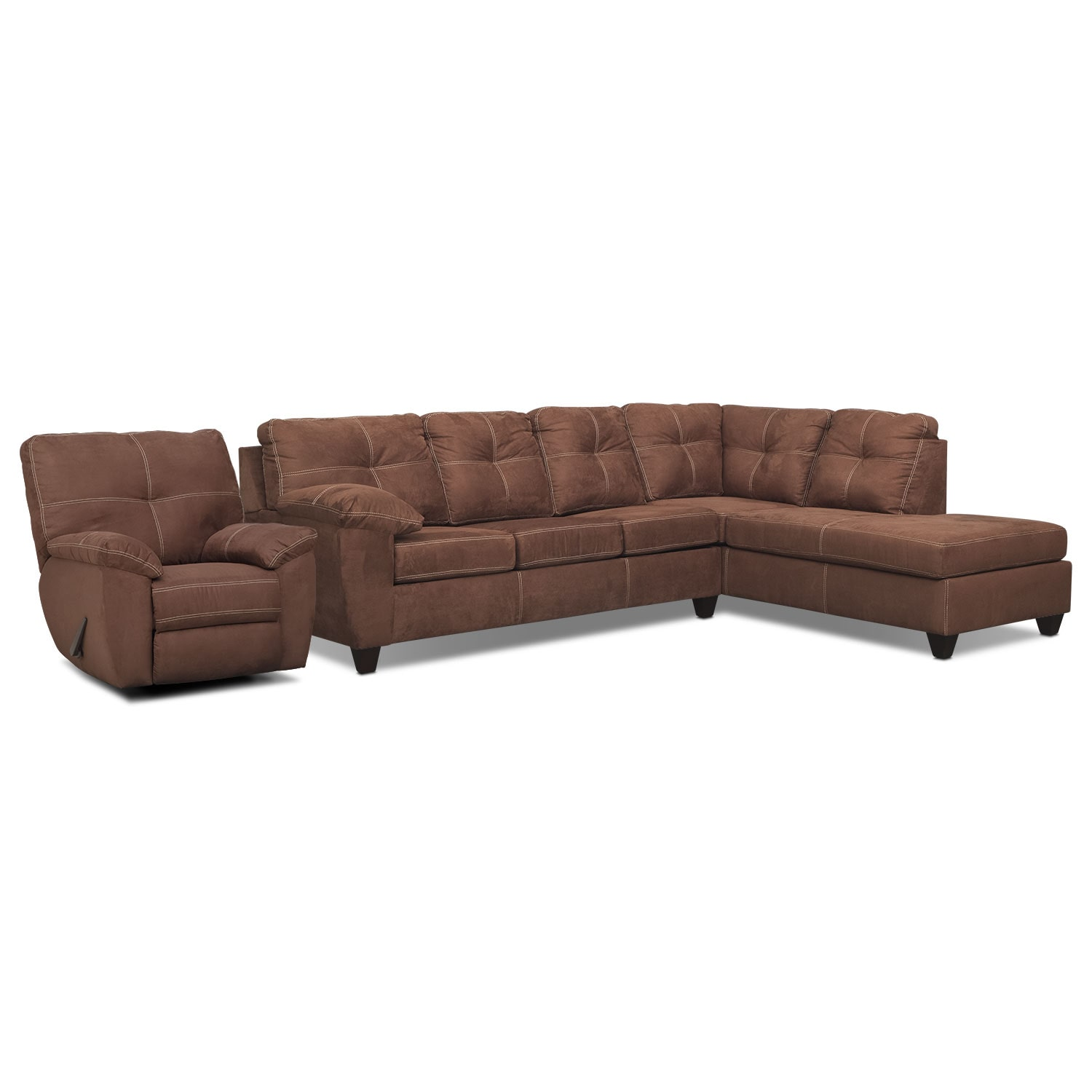 Living Room Furniture - Rialto Coffee 2 Pc. Right-Facing Chaise Sectional and Glider Recliner