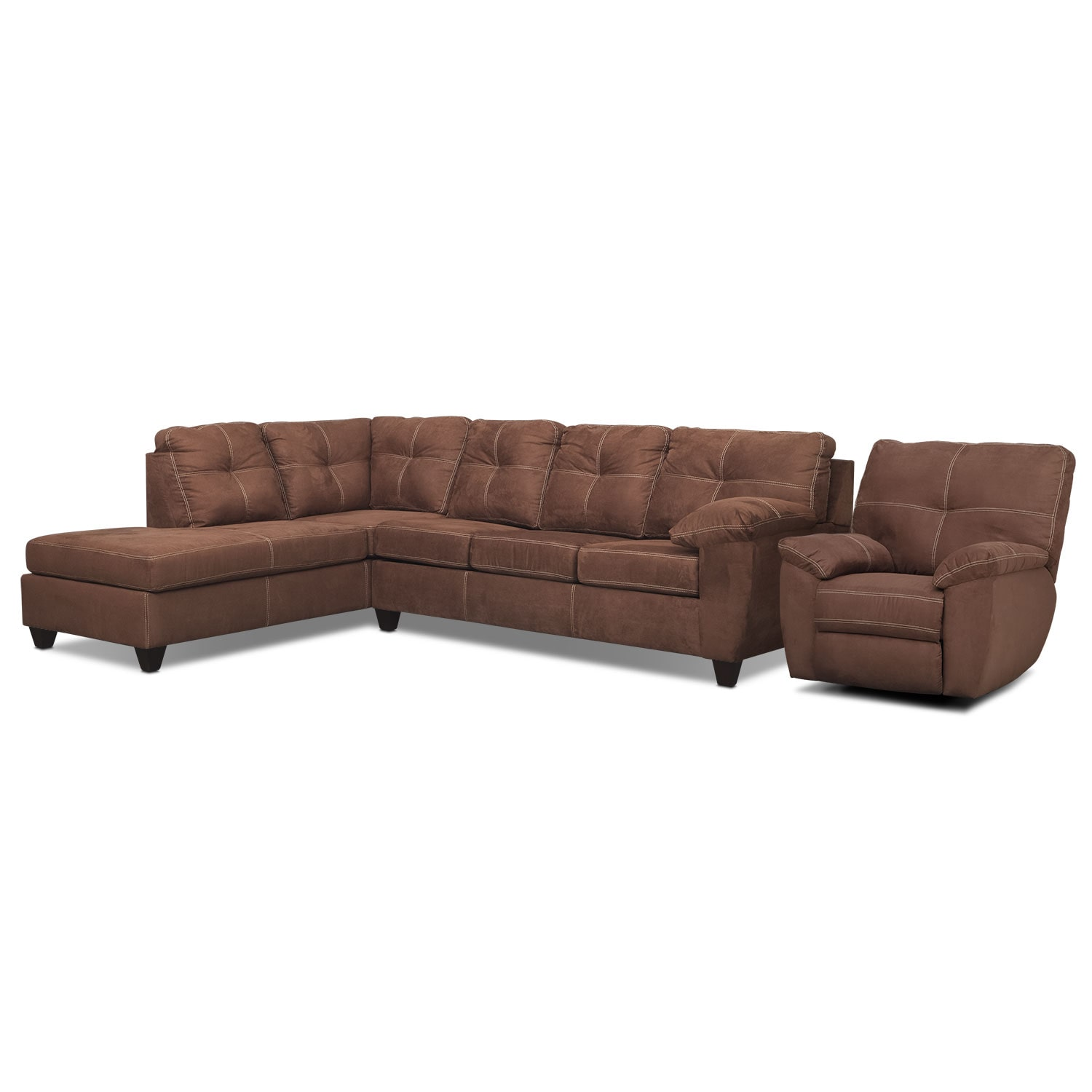 Living Room Furniture - Rialto Coffee 2 Pc. Left-Facing Chaise Sectional and Glider Recliner