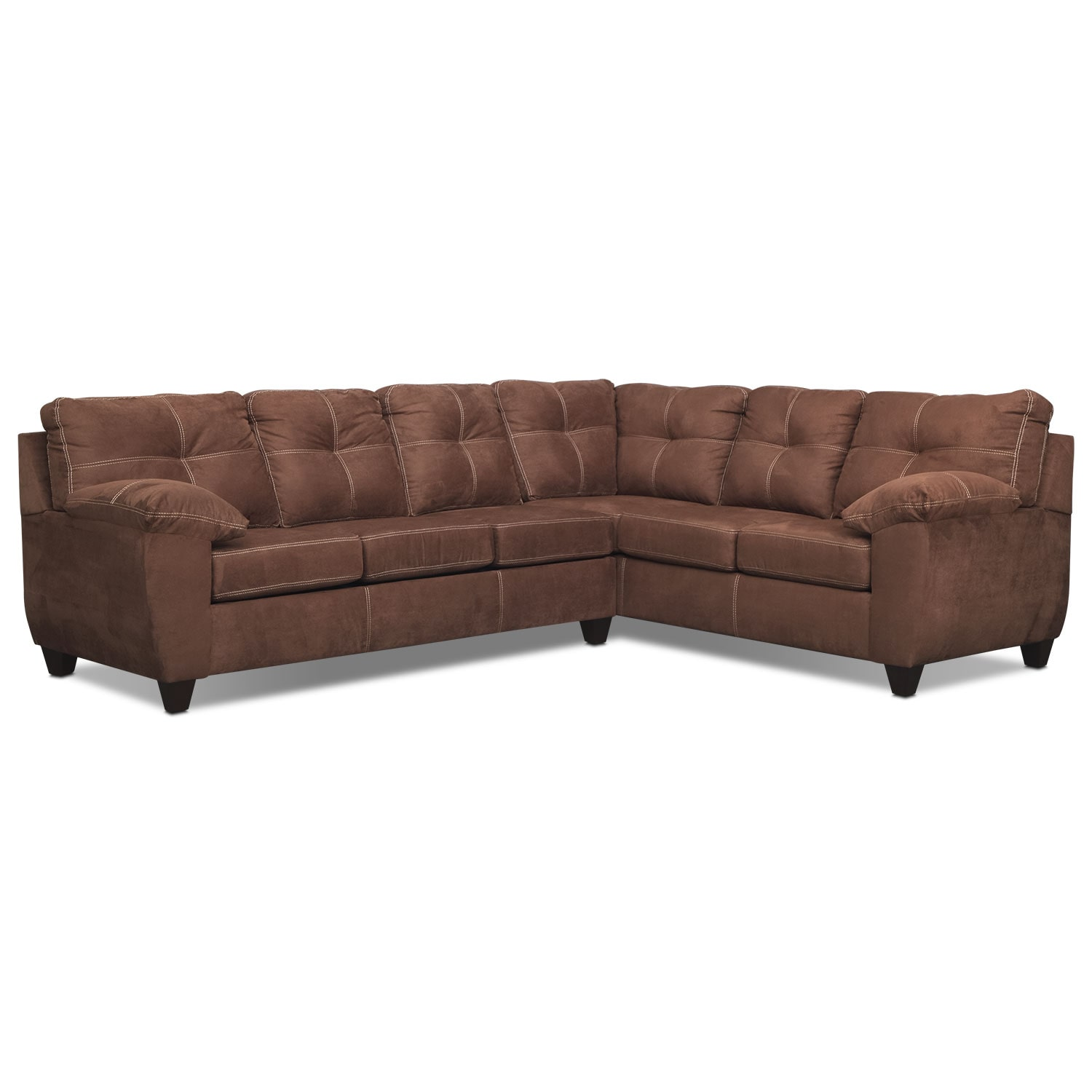 Living Room Furniture - Rialto 2-Piece Sectional with Left-Facing Innerspring Sleeper - Coffee