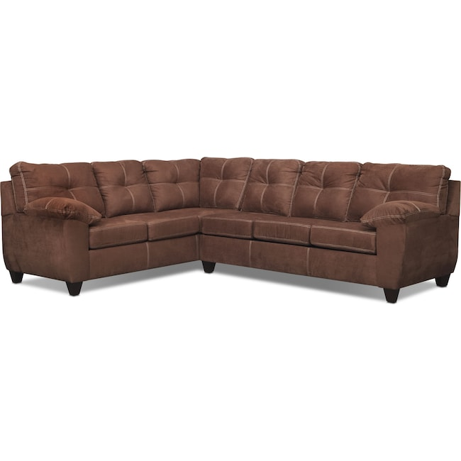Living Room Furniture - Ricardo 2-Piece Innerspring Sleeper Sectional with Left-Facing Sofa - Coffee