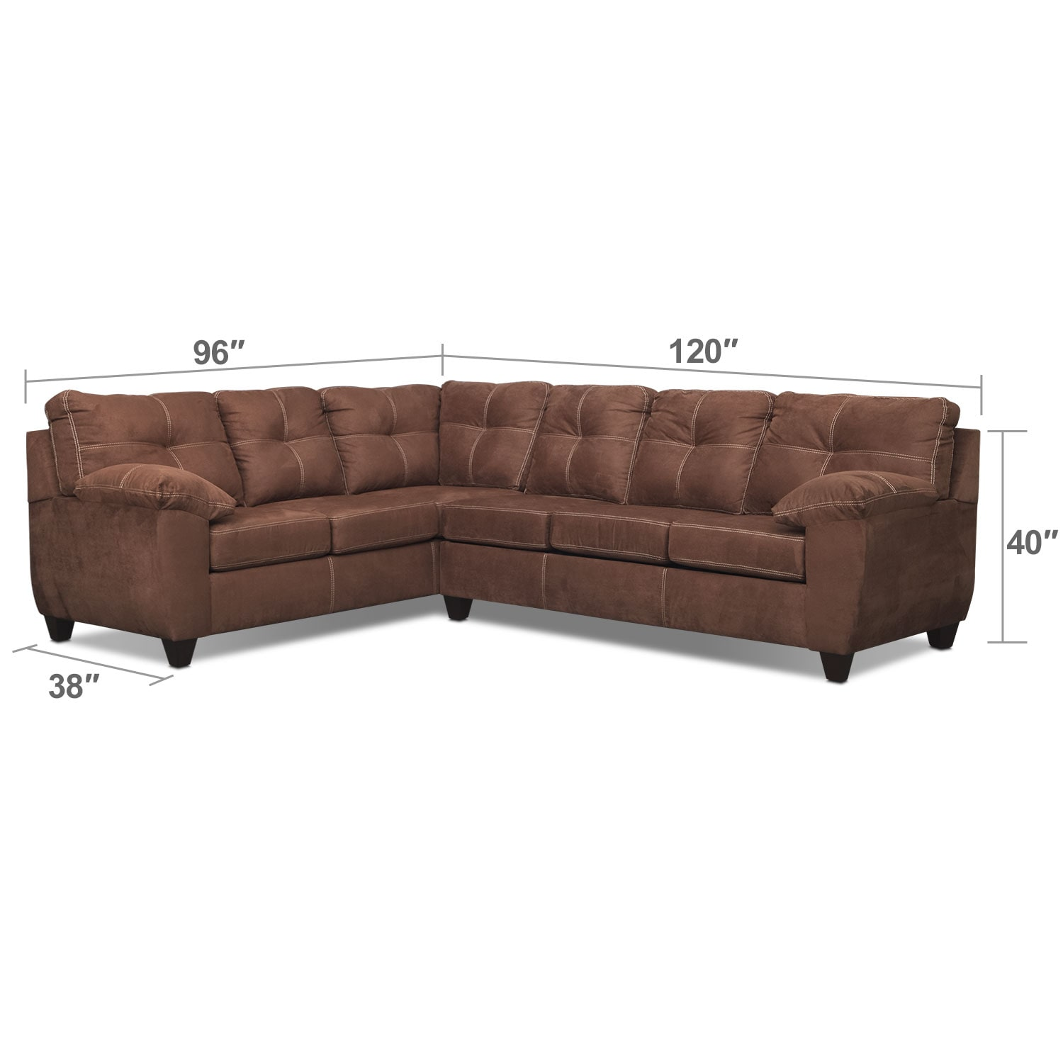 Living Room Furniture - Rialto 2-Piece Sectional with Right-Facing Innerspring Sleeper - Coffee