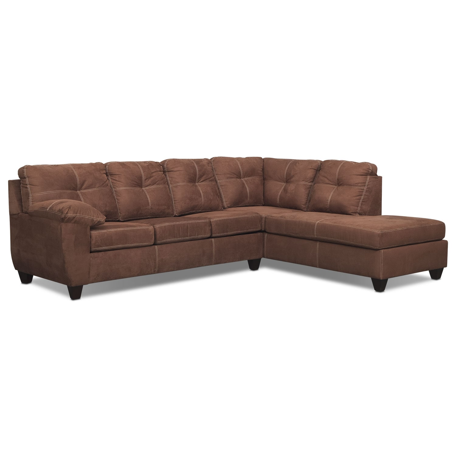 Rialto 2-Piece Memory Foam Sleeper Sectional with Right-Facing Chaise - Coffee