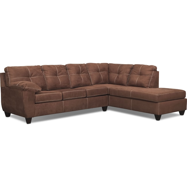 Living Room Furniture - Ricardo 2-Piece Memory Foam Sleeper Sectional with Right-Facing Chaise - Coffee