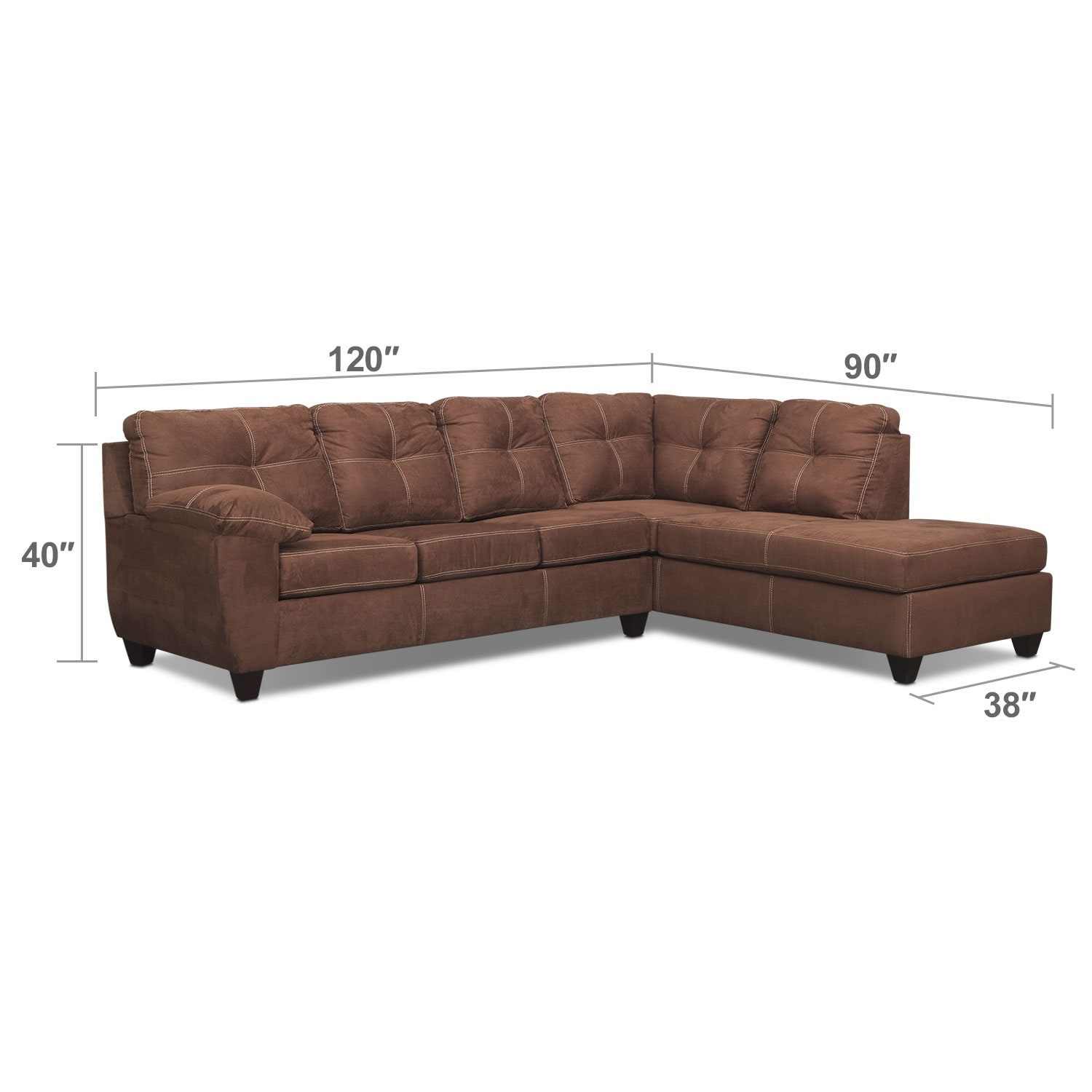 Living Room Furniture - Rialto 2-Piece Memory Foam Sleeper Sectional with Right-Facing Chaise - Coffee