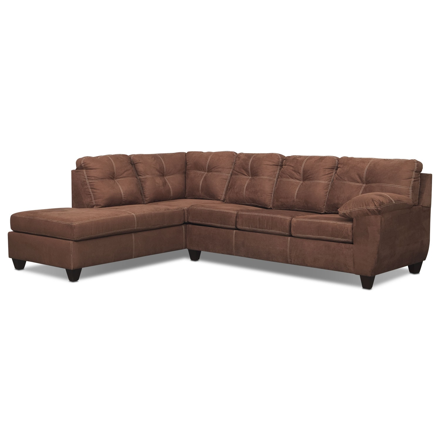 Rialto 2-Piece Memory Foam Sleeper Sectional with Left-Facing Chaise - Coffee