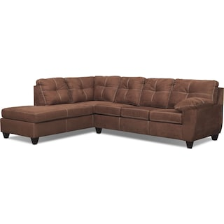 Ricardo 2-Piece Innerspring Sleeper Sectional with Left-Facing Chaise - Coffee