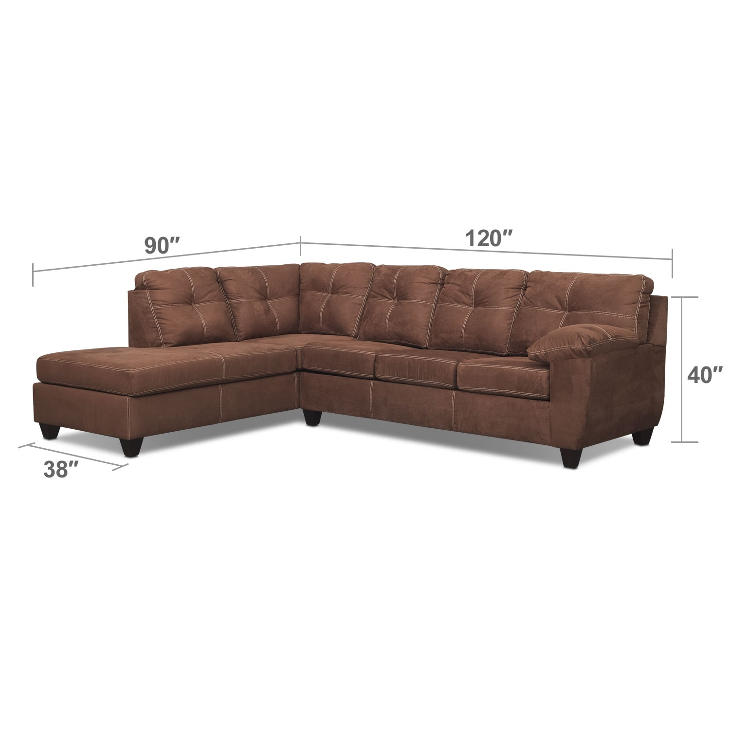 Living Room Furniture - Rialto 2-Piece Memory Foam Sleeper Sectional with Left-Facing Chaise - Coffee