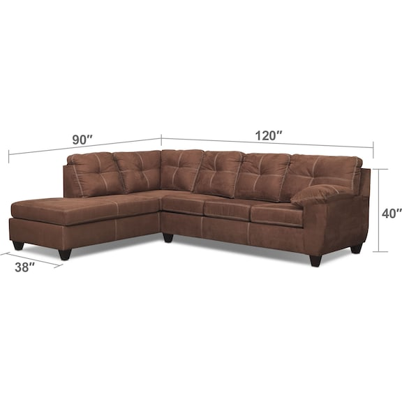 Living Room Furniture - Ricardo 2-Piece Queen Sleeper Sectional with Chaise