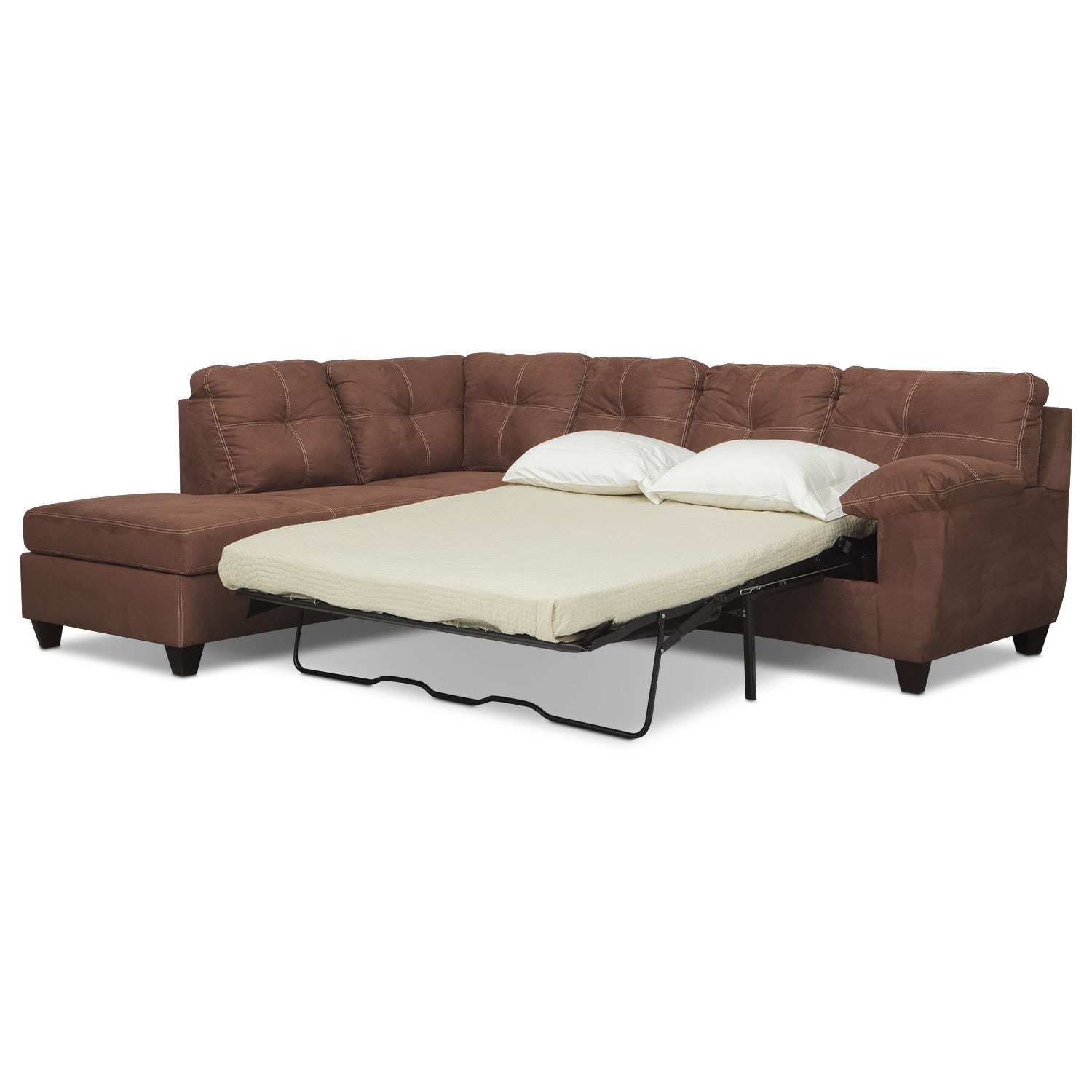 Ricardo 2 piece memory foam sleeper sectional with left for 2 piece sectional sofa with chaise
