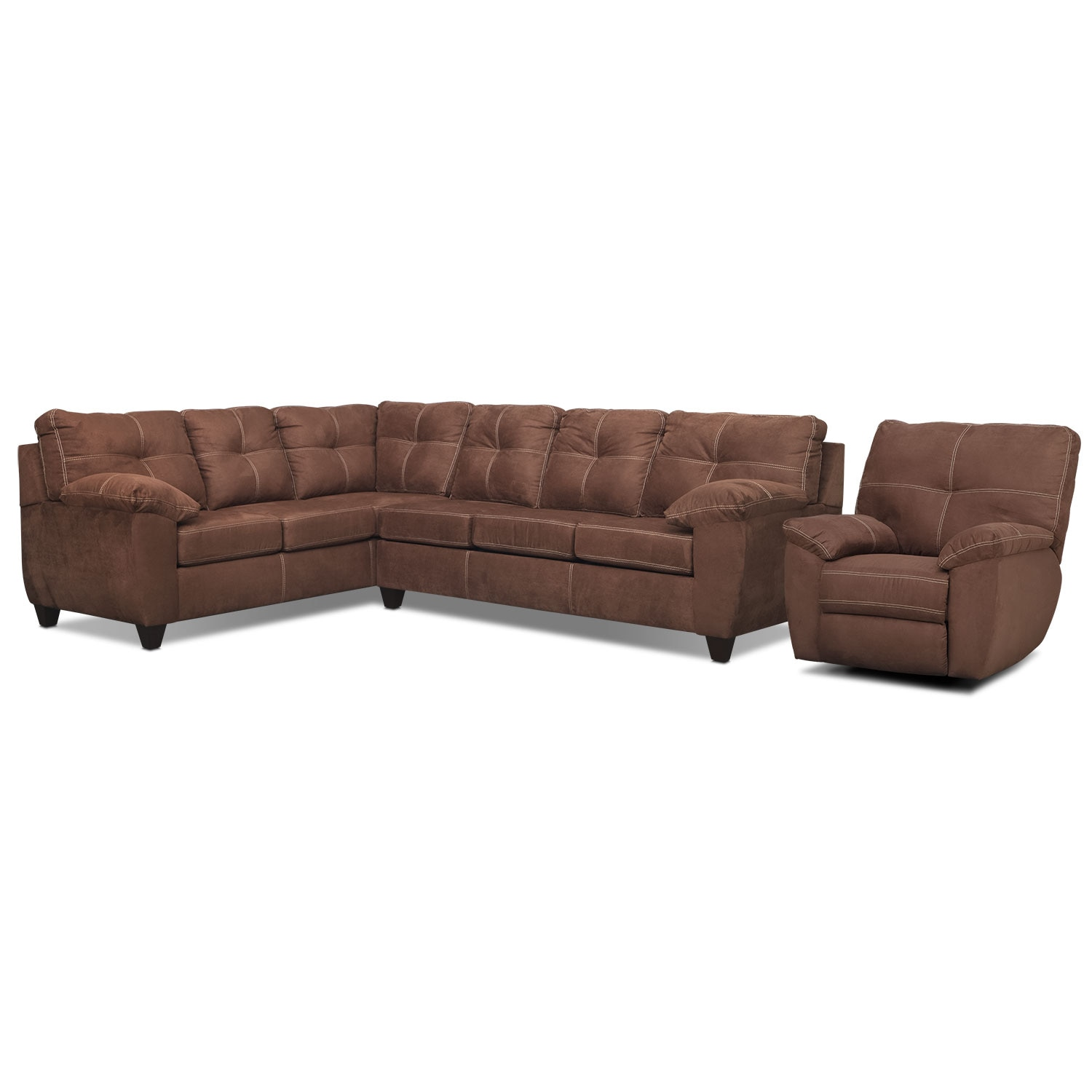 Rialto 2-Piece Sectional with Left-Facing Corner Sofa and Glider Recliner Set - Coffee