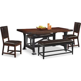 Newcastle Dining Table, 2 Side Chairs and 2 Benches - Mahogany