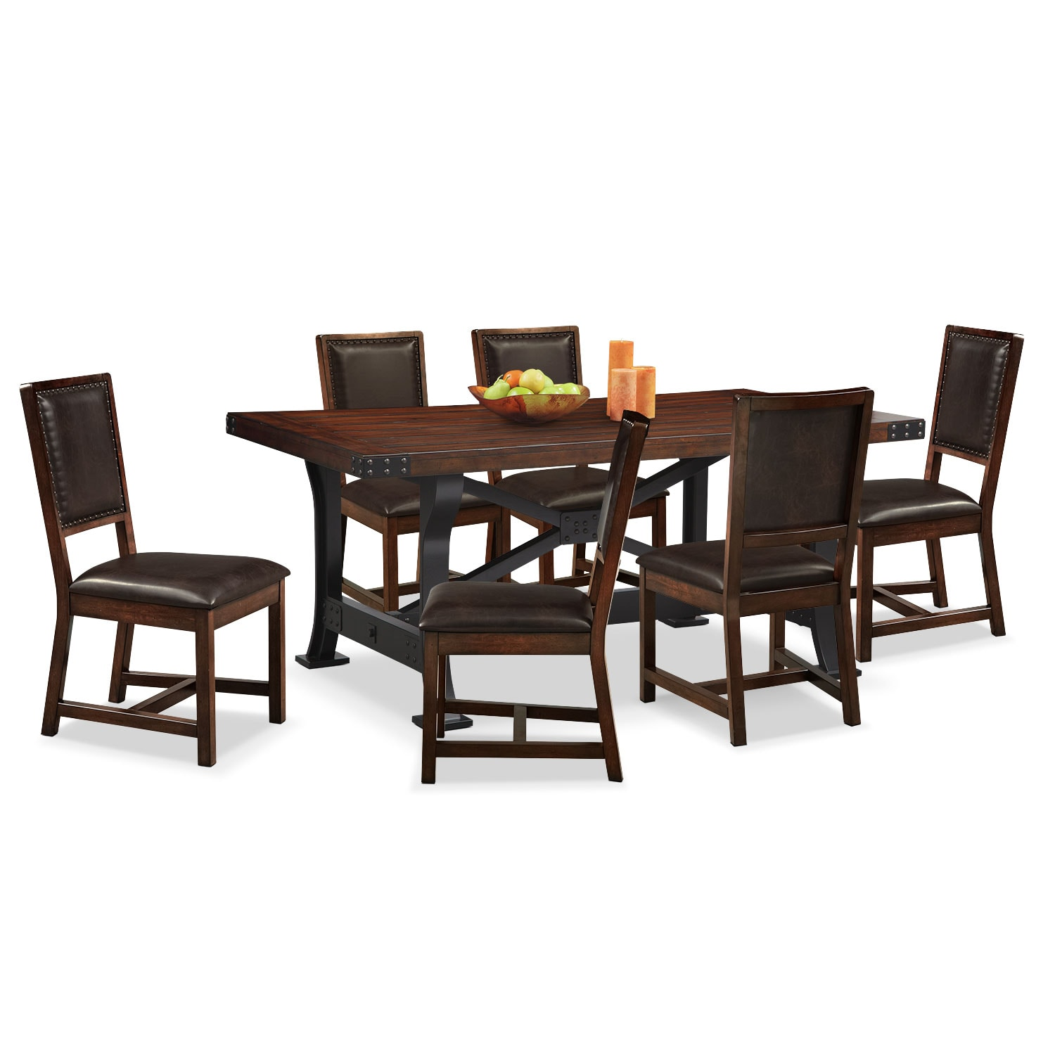 American Signature Dining Room: Newcastle Table And 6 Chairs - Mahogany